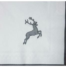 Салфетки 3-слойные, бумажные DecoPrint, ОЛЕНЁНОК,  размер 33 х 33 см, 20 штук