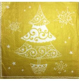 Салфетки 3-слойные, бумажные DecoPrint, ЁЛКА (золото),  размер 33 х 33 см, 20 штук