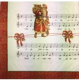Салфетки 3-слойные, бумажные DecoPrint, НОТЫ. ДЕД МОРОЗ,  размер 33 х 33 см, 20 штук