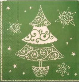 Салфетки 3-слойные, бумажные DecoPrint, ЁЛКА (зеленая),  размер 33 х 33 см, 20 штук