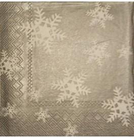 Салфетки 3-слойные, бумажные DecoPrint, СНЕЖИНКИ (серебро)размер 33 х 33 см, 20 штук