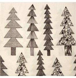 Салфетки 3-слойные, бумажные DecoPrint, ЧЕРНО-БЕЛЫЕ ЁЛКИ, размер 33 х 33 см, 20 штук