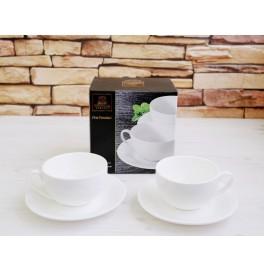 Набор из 2 чашек с блюдцами Wilmax. Цвет: белый