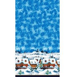 Скатерть DUNICEL 138 х 220 см, дизайнерская. Цвет: WINTER VILLAGE. 1 штука