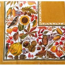 Салфетки 3-слойные, бумажные DecoPrint, ОСЕНЬ,ТЫКВЫ размер 33 х 33 см, 20 штук