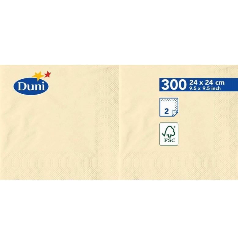 Салфетки 2-слойные, бумажные Duni Tissue, цвет: Ваниль, размер 24 х 24 см, 300 штук