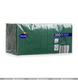 Салфетки 2-слойные, бумажные Duni Tissue, цвет: Тёмно-зелёный, размер 24 х 24 см, 300 штук
