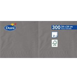 Салфетки 2-слойные, бумажные Duni Tissue, цвет: Серый гранит, размер 24 х 24 см, 300 штук