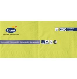 Салфетки 3-слойные, бумажные Duni Tissue, цвет: Киви, размер 24 х 24 см, 250 штук