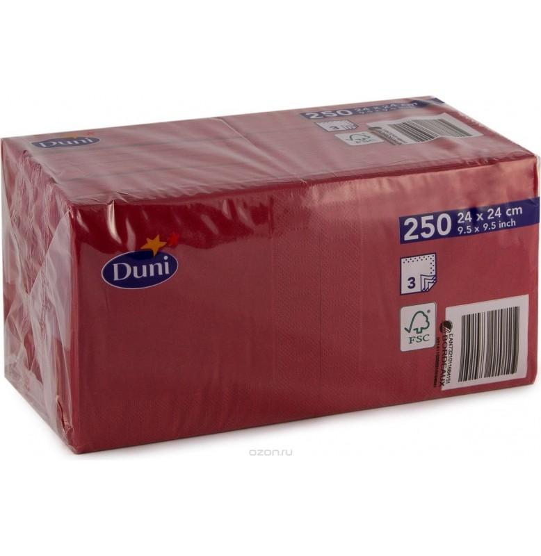 Салфетки 3-слойные, бумажные Duni Tissue, цвет: Бордо, размер 24 х 24 см, 250 штук
