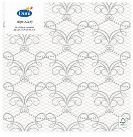Салфетки 3-слойные, бумажные Duni Tissue, дизайнерские. Цвет: MILENA, размер 24 х 24 см, 20 штук