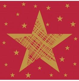 Салфетки 3-слойные, бумажные Duni Tissue, дизайнерские. Цвет: SHINING STAR RED, размер 24 х 24 см, 20 штук