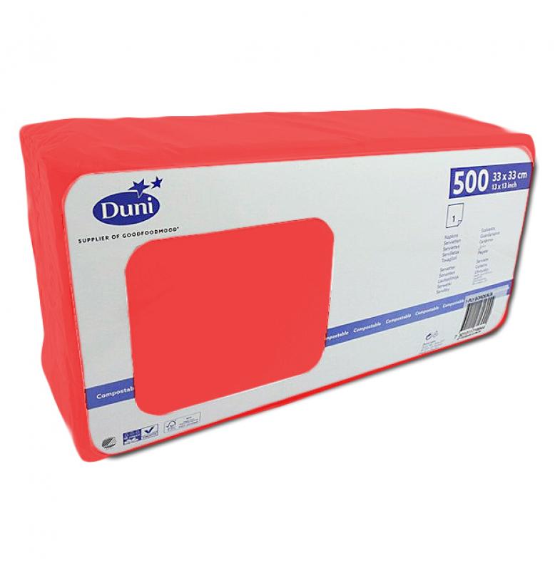 Салфетки 1-слойные, бумажные Duni Tissue, цвет: Красный, размер 33 х 33 см, 500 штук
