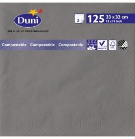 Салфетки 2-слойные, бумажные Duni Tissue, цвет: Серый гранит, размер 33 х 33 см, 125 штук
