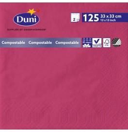 Салфетки 2-слойные, бумажные Duni Tissue, цвет: Фуксия, размер 33 х 33 см, 125 штук