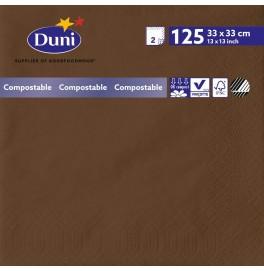 Салфетки 2-слойные, бумажные Duni Tissue, цвет: Кофе, размер 33 х 33 см, 125 штук