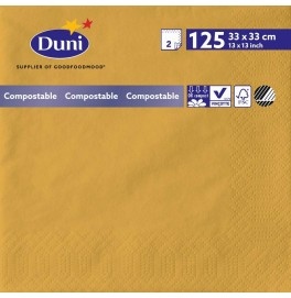 Салфетки 2-слойные, бумажные Duni Tissue, цвет: Мёд, размер 33 х 33 см, 125 штук