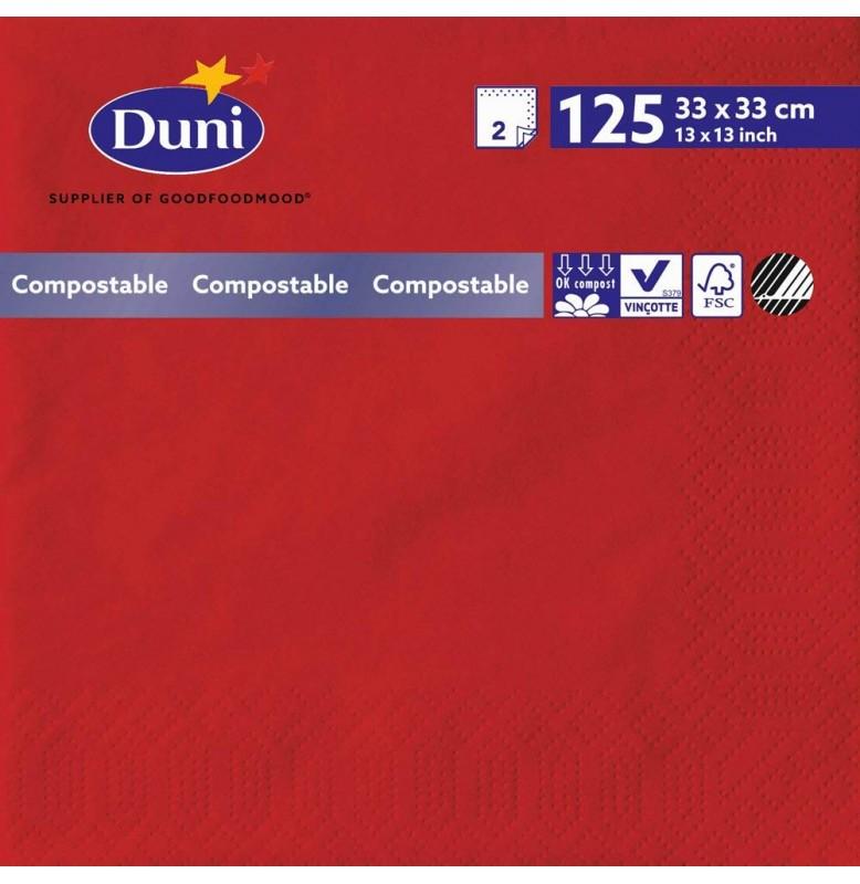 Салфетки 2-слойные, бумажные Duni, цвет: Красный, размер 33 х 33 см