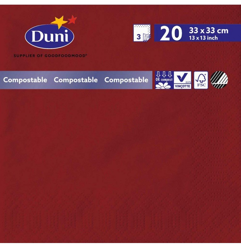Салфетки 3-слойные, бумажные Duni Tissue, цвет: Бордо, размер 33 х 33 см, 20 штук