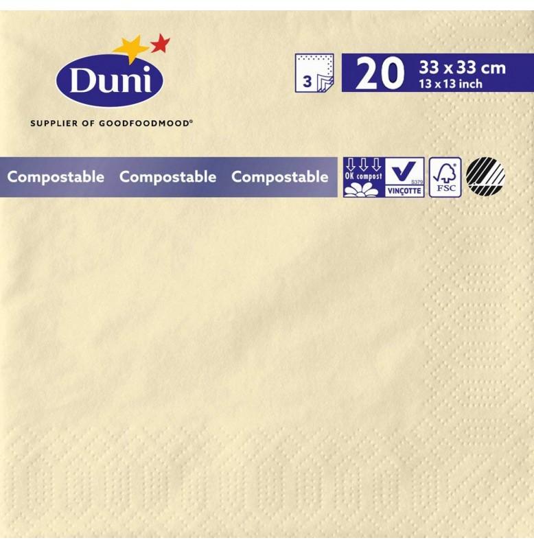 Салфетки 3-слойные, бумажные Duni Tissue, цвет: Ваниль, размер 33 х 33 см, 20 штук
