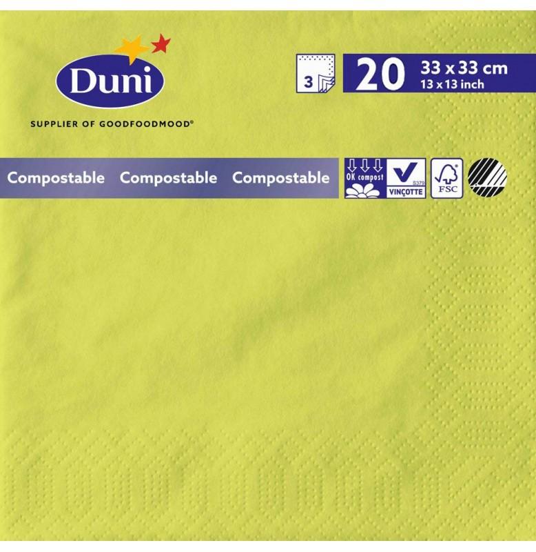 Салфетки 3-слойные, бумажные Duni Tissue, цвет: Киви, размер 33 х 33 см, 20 штук