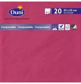 Салфетки 3-слойные, бумажные Duni Tissue, цвет: Фуксия, размер 33 х 33 см, 20 штук