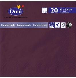 Салфетки 3-слойные, бумажные Duni Tissue, цвет: Слива, размер 33 х 33 см, 20 штук