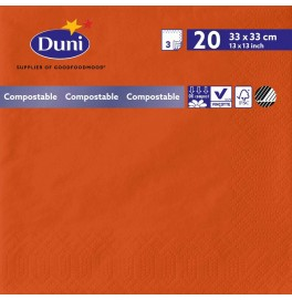 Салфетки 3-слойные, бумажные Duni Tissue, цвет: Мандарин, размер 33 х 33 см, 20 штук