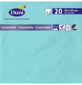 Салфетки 3-слойные, бумажные Duni Tissue, цвет: Голубой, размер 33 х 33 см, 20 штук