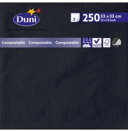 Салфетки 3-слойные, бумажные Duni Tissue, цвет: Чёрный, размер 33 х 33 см, 250 штук