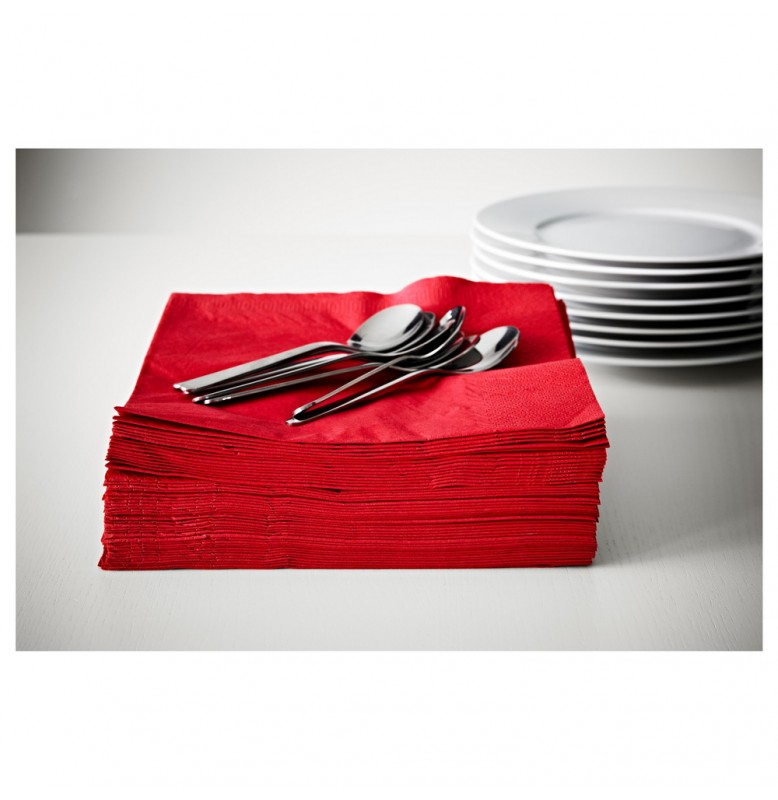 Салфетки 3-слойные, бумажные Duni Tissue, цвет: Красный, размер 33 х 33 см, 20 штук