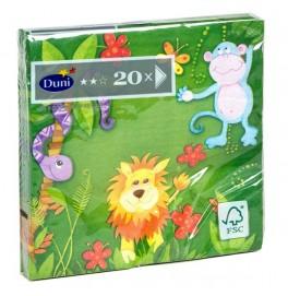 Салфетки 3-слойные, бумажные Duni Дизайнерские, цвет: JUNGLE FRIENDS, размер 33 х 33 см. 20 штук