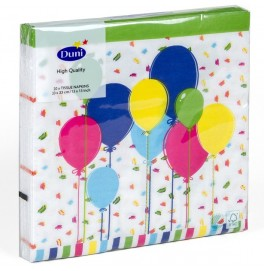 Салфетки 3-слойные, бумажные Duni Дизайнерские, цвет: BALLOONS AND CONFETTI, размер 33 х 33 см. 20 штук