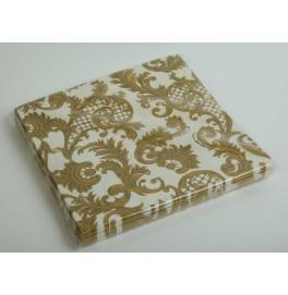 Салфетки 3-слойные, бумажные, размер 36 х 36 см, 20 штук. Цвет: Золото