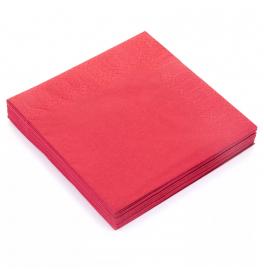 Салфетки 3-слойные, бумажные Duni Tissue, цвет: Красный, размер 40 х 40 см, 20 штук