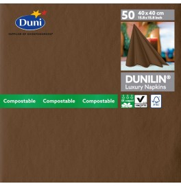 Салфетки бумажные Dunilin, цвет: Кофе, размер 40 х 40 см, 50 штук