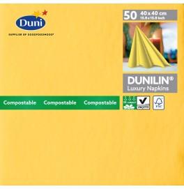 Салфетки бумажные Dunilin, цвет: Жёлтый, размер 40 х 40 см, 50 штук