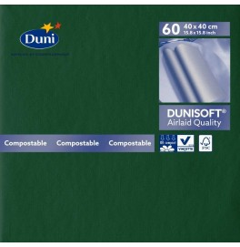 Салфетки бумажные Dunisoft Airlaid, цвет: Тёмно-зелёный, размер 40 х 40 см, 60 штук