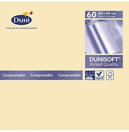 Салфетки бумажные Dunisoft Airlaid, цвет: Ваниль, размер 40 х 40 см, 60 штук