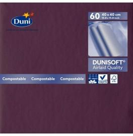 Салфетки бумажные Dunisoft Airlaid, цвет: Слива, размер 40 х 40 см, 60 штук