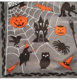 Салфетки 3-слойные, бумажные DecoPrint, Хеллоуин, размер 33 х 33 см, 20 штук
