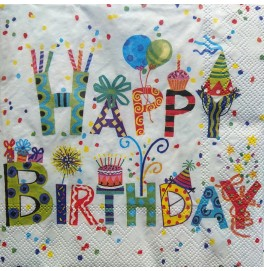 Салфетки 3-слойные, бумажные DecoPrint,Happy Birthday,  размер 33 х 33 см, 20 штук