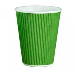Гофрированный бумажный стакан. Цвет: Зеленый; 350/300 мл