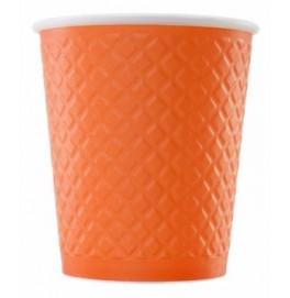 Рифленый бумажный стакан. Цвет: Мандарин; 250 /270 мл