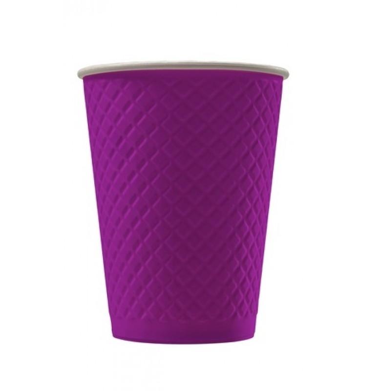 Рифленый бумажный стакан. Цвет: Слива; 250 /270 мл