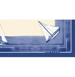 Скатерть (наперон) 84 см х 84 см, дизайнерские с водостойким покрытием. Цвет: SAILING. 1 штука