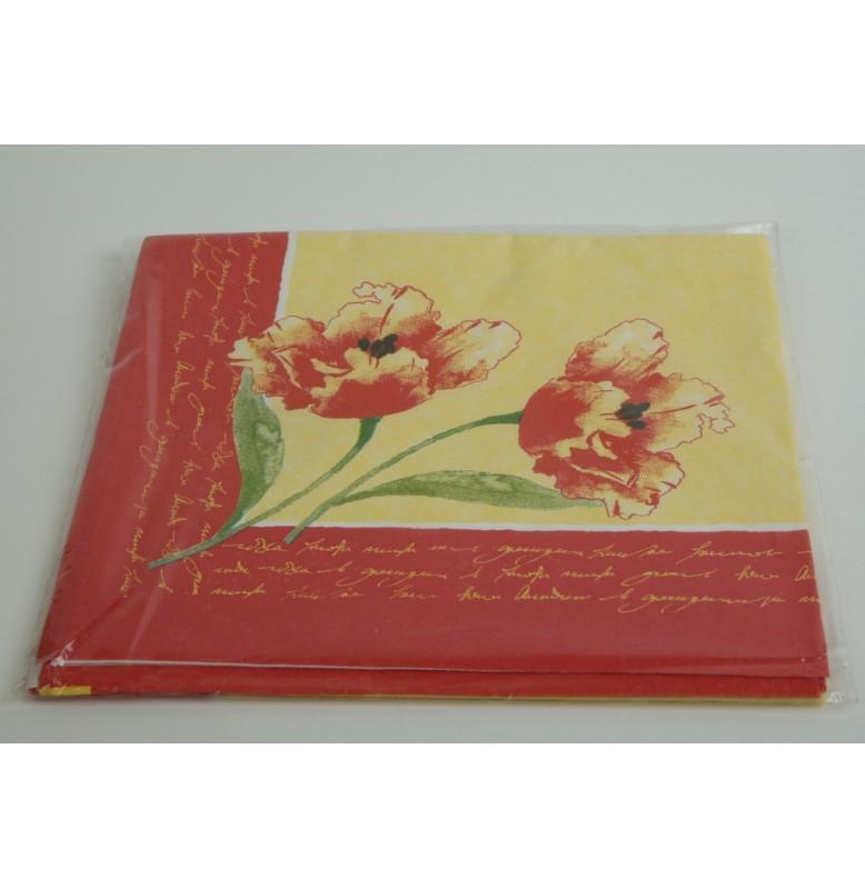 Скатерть (наперон) DUNICEL 84 х 84 см, дизайнерская. Цвет: красные маки. 1 штука