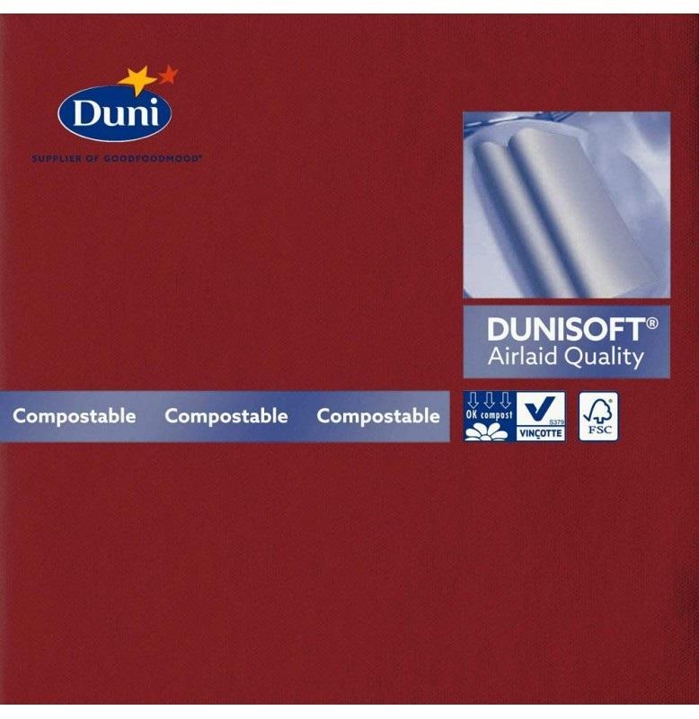 Салфетки бумажные Dunisoft Airlaid, цвет: бордо, размер 40 х 40 см, 12 шт