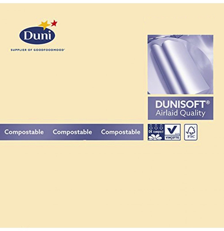 Салфетки бумажные Dunisoft Airlaid, цвет: ваниль, размер 40 х 40 см, 12 шт