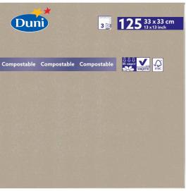 Салфетки 3-слойные, бумажные Duni Tissue, цвет: Серо-бежевый, размер 33 х 33 см, 125 штук